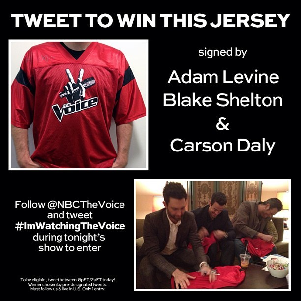 Adam Levine, Blake Shelton, Carson Daly - Tweet #ImWatchingTheVoice NOW for a chance to win this jer