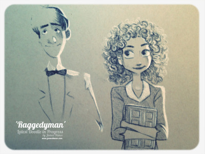 jameshance:  Latest Doodle in Progress - 'Raggedyman' (Paperman / Doctor Who - Charcoal) Just for fun :) finishing soon - another pic coming shortly x  My site / My Facebook / Original Art on eBay