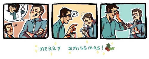 "syggy:  MERRY SMISSMAS EVERYONE!!! i took part in the TF2 secret santa, and the prompt i got was ""blu sniper tries to teach scout how to knit/scout accidentally ties his hands together""! this is for crappyfanfics!"