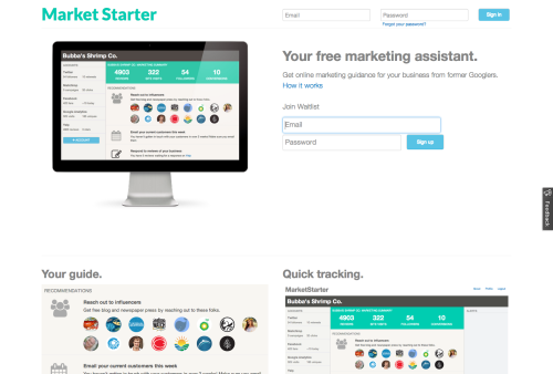 MarketStarter is a free online marketing assistant. You're busy, and marketing is a time suck. MarketStarter simplifies managing your online marketing so it takes less than a few minutes per day. We provide a simple dashboard so you can track your accounts. We will also send you ideas for social media posts, and tips for improving your ad and email accounts. Make marketing easier. Sign up for the beta. Sign up here