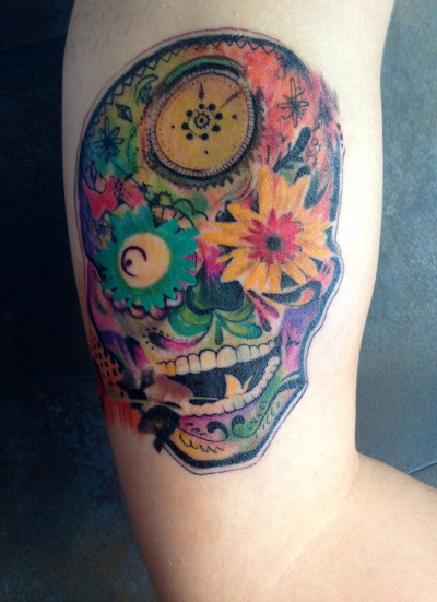 Psychedelic sugar skull by Jose Gonzalez at Ink-in Tattoo (Marbella, Spain) www.inkintattoo.com