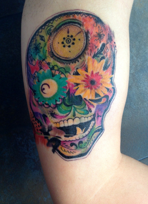 fuckyeahtattoos:  Psychedelic sugar skull by Jose Gonzalez at Ink-in Tattoo (Marbella, Spain) www.inkintattoo.com