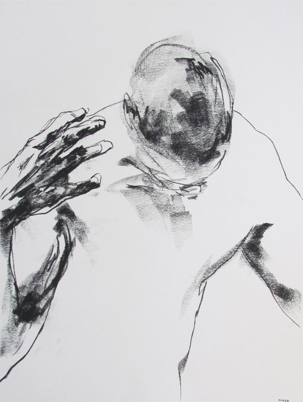 "arpeggia:  Derek Overfield - Drawing 122, 2012, charcoal on paper, 18"" x 24"""
