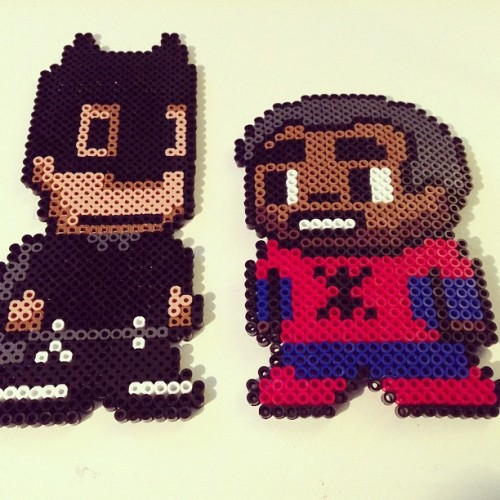childgumbo:  Troy and Abed as superheroes! #community #batman #spiderman #abed #troy #perlerbeads