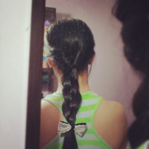 Was playing with #hair. Those white stuff are not dandruff okay, my mirror is just dirty. #braid #Asian #girl