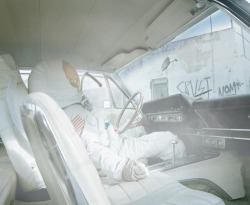 akautomatics:  Astronaut in a hot-boxed car in the ghetto