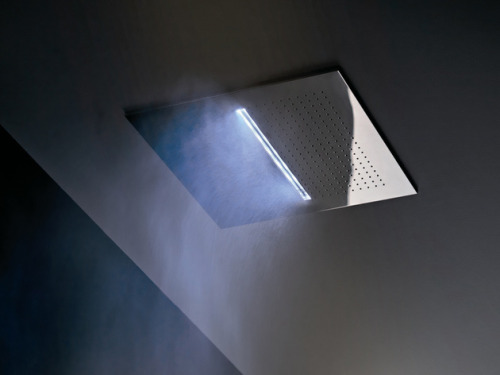 designed-for-life:  Overhead Chromotherapy Showerhead from Fantini: Acqua Zone   Starting with style, this showerhead designed by Franco Sargiani lets you achieve a clean, minimalist look in your bathroom without sacrificing a sumptuous spa experience. The sleek, streamlined shower fixture is mounted to the ceiling - a perfectly polished square that's out of the way and in prime position to wash you with its various nature-inspired sprays. Choose from rainfall, waterfall and mist functions.