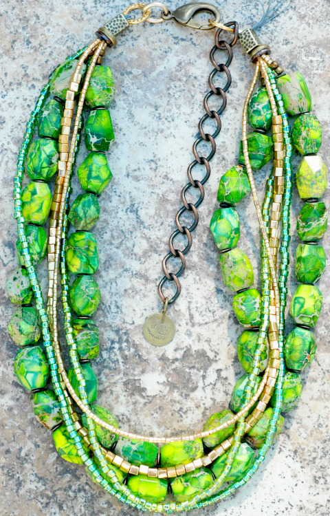 Custom Spring Green and Gold Necklace Contact me to create your own custom piece of jewelry!