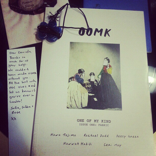 "ZINE SPOTLIGHT: OOMK Zine is out NOW! <3 Back in December of 2012, POCZP helped fund One of My Kind zine. ""We're really keen to share the thoughts of young active, creative women, especially Muslim women, like ourselves, who don't really get heard."" Click here to order yours now or to find out how to submit to the next issue. TITLE: OOMK Issue #1 RELEASE: 1/27/2013 REGION: London, UK CREATORS: Sofia Niazi, Sabba Khan and Rose Nordin DESCRIPTION: One of My Kind (OOMK) is a highly visual, handcrafted small-press publication. Our content largely pivots upon the imaginations, creativity and spirituality of women.   Visually, we are explorative and have a dreamy aesthetic. We use tactile recycled paper, hand illustrated embellishments, collage and lomography. SAY HI: oomkzine@gmail.com Girls Get Busy feminist zine distro will be selling OOMK very soon, check out their store. We don't see a U.S.-based distro source yet, so if you see one, let us know! If you want to BE one ;) contact OOMK."