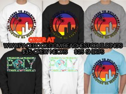 "BEACHES TO BUILDINGS ""Sunset Logo"" and ""Hibiscus POLY"" for sale now!  Order yours on www.facebook.com/beachestobuildings :)Tshirts available in all styles.  PLEASE SUPPORT MY BOYFRIEND'S DREAM! :)"