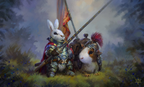 diefantasie:  Bunny Knight and Quinny Pig steed by K.J. Kallio (A World of Fantasy)