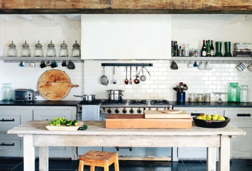 white tiles in the kitchen (via Designspiration)