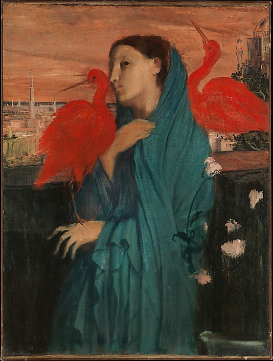 classic-art:  Young Woman with Ibis Edgar Degas