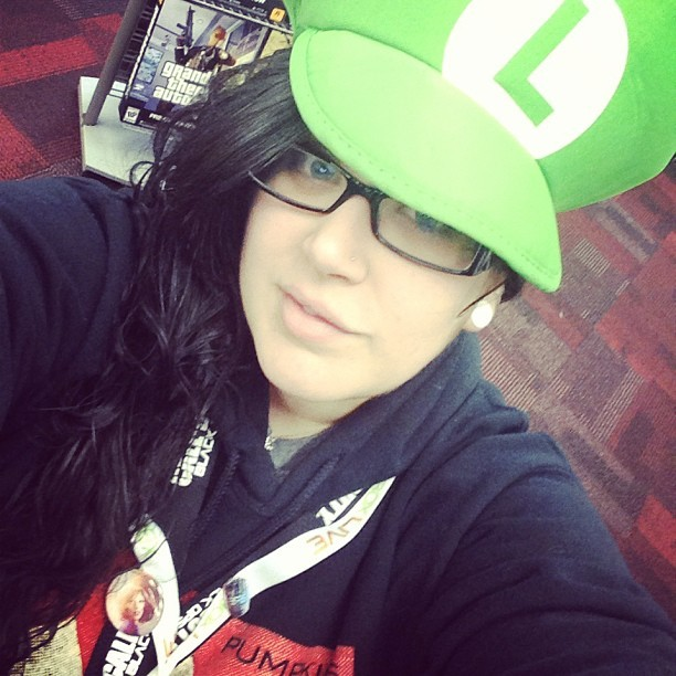 #workbound at #gamestop for the night! Rocking my #luigi hat! #mariobrothers #gamer #girlgamer #work #cute #plugs #gauges #longhair #nomakeup #blackops2 #xboxlive #ps3 #playstation #xbox #lanyards #pins #bioshock #deadspace #nametag #memyselfandi