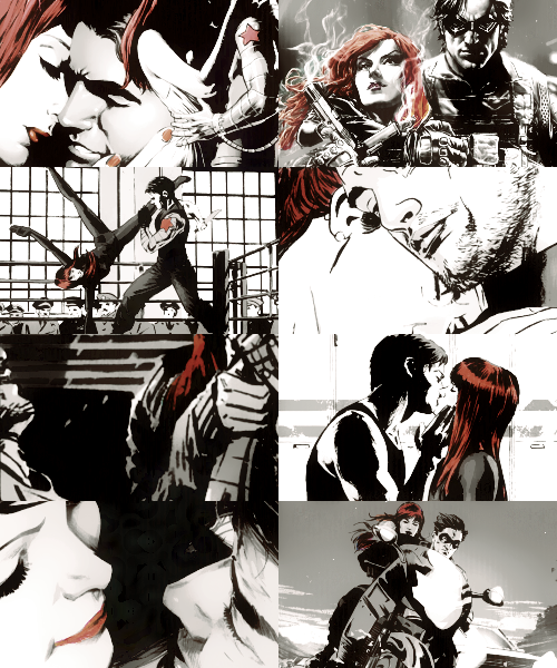 lonelyantics:   marvel comics meme: six relationships (5/6)↳ Bucky Barnes & Natasha Romanoff    'I'm promised to someone else.'  'I know… He's an ass.'