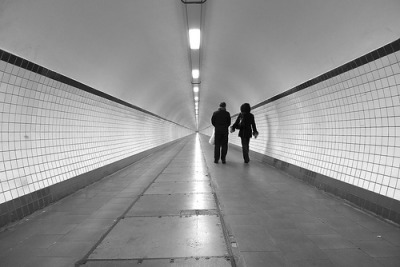 Tunnel to Infinity - Sint-Anna tunnel in Antwerpen. Pedestrian tunnel under the river Schelde, 572 meters long. View Large On Black Panasonic Lumix LX3, freehand at 24 mm in 3:2 Thank you for EXPLORE. :) from Antwerpen (via flickr)