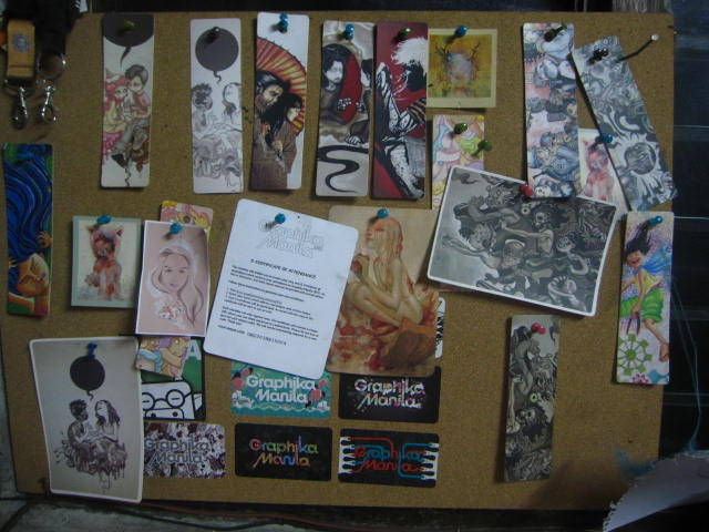 so my board is compose of stickers, bookmarks and prints.