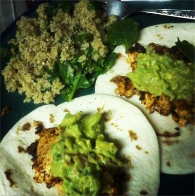 Chipotle lime tofu tacos + homemade guacamole and cilantro lime quinoa.
