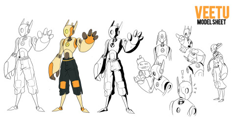 Next up, here's Veetu's model sheet!   Of the character's I've posted so far, Veetu has had the least development before now so some parts of his design may be subject to change before the final print is done but for the most part, I'm pretty happy with how his design came together.