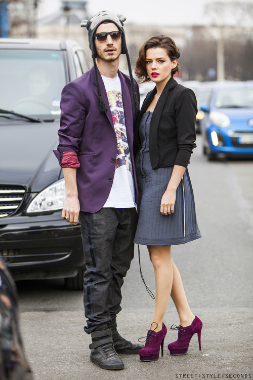 streetstyleseconds:  Purple couple works, Paris, March 2013, SEE MY original WEB