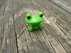 Ribbit.:   I'm a sucker for cute animal toys. I found this little froggy in a half dollar machine.
