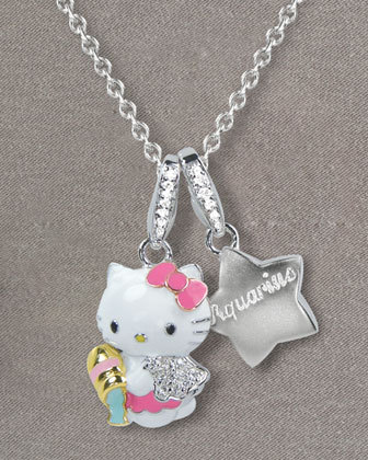 Hello Kitty Zodiac Necklace, Aquarius - $850   Aquarius: January 20-February 18   The sign of friendship makes you accepting and fun.  People love to be around you.