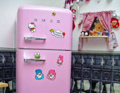 Retro Pink Hello Kitty covered fridge
