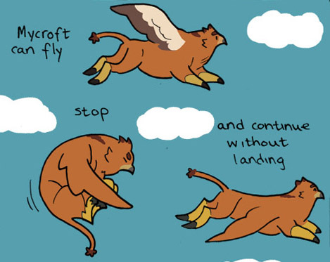 See Mycroft. See Mycroft fly in today's Take off!