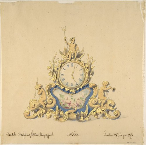 lesrosiers:  Design for a Clock with Neptune French, 19th century