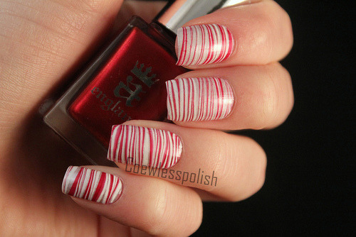 Candy cane watermarble on Flickr.My first sucessfull watermarble. I love candy canes!www.coewlesspolish.wordpress.com