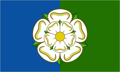 East Yorkshire, since 2013 England has been on a regular flag adopting spree lately. A new flag for the East Riding of Yorkshire was unveiled yesterday. It features a white York rose on a background of blue and green, representing the sea and the agricultural land. (designers: Trevor Appleton and Thomas Appleton)