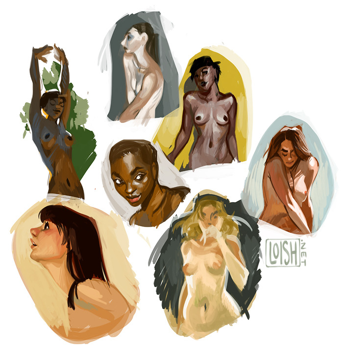 some color + skintone studies from ref, featuring: boobs.