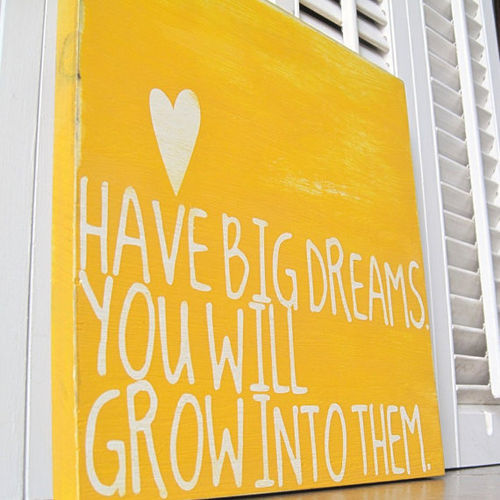 bemorenow:  Have BIG dreams - you will grow into them.