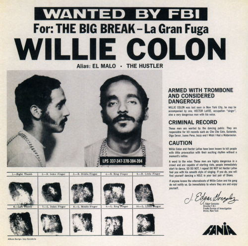 The cover of Willie Colón's 1971 LP The Big Break speaks to the image -part real, part constructed- of criminality that many early salsa music records cultivated in order to promote this genre as emblematic of the urban marginality of Latinos in places like New York. Colón's sound, defined by his use of the trombone, supplemented images like this one with a hard, edgy sound that became distinctive of New York salsa.