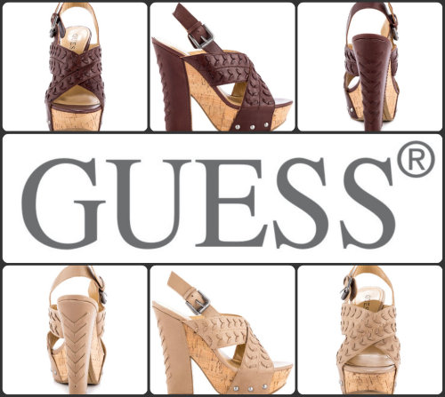 "Style File: ""Pandara"" from Guess Pair anything with the versatile Pandara by Guess. A natural leather creates the upper while featuring stitched details. An adjustable heel strap, 5 1/2 inch cork block heel and 1 1/2 inch platform deliver a retro vibe."