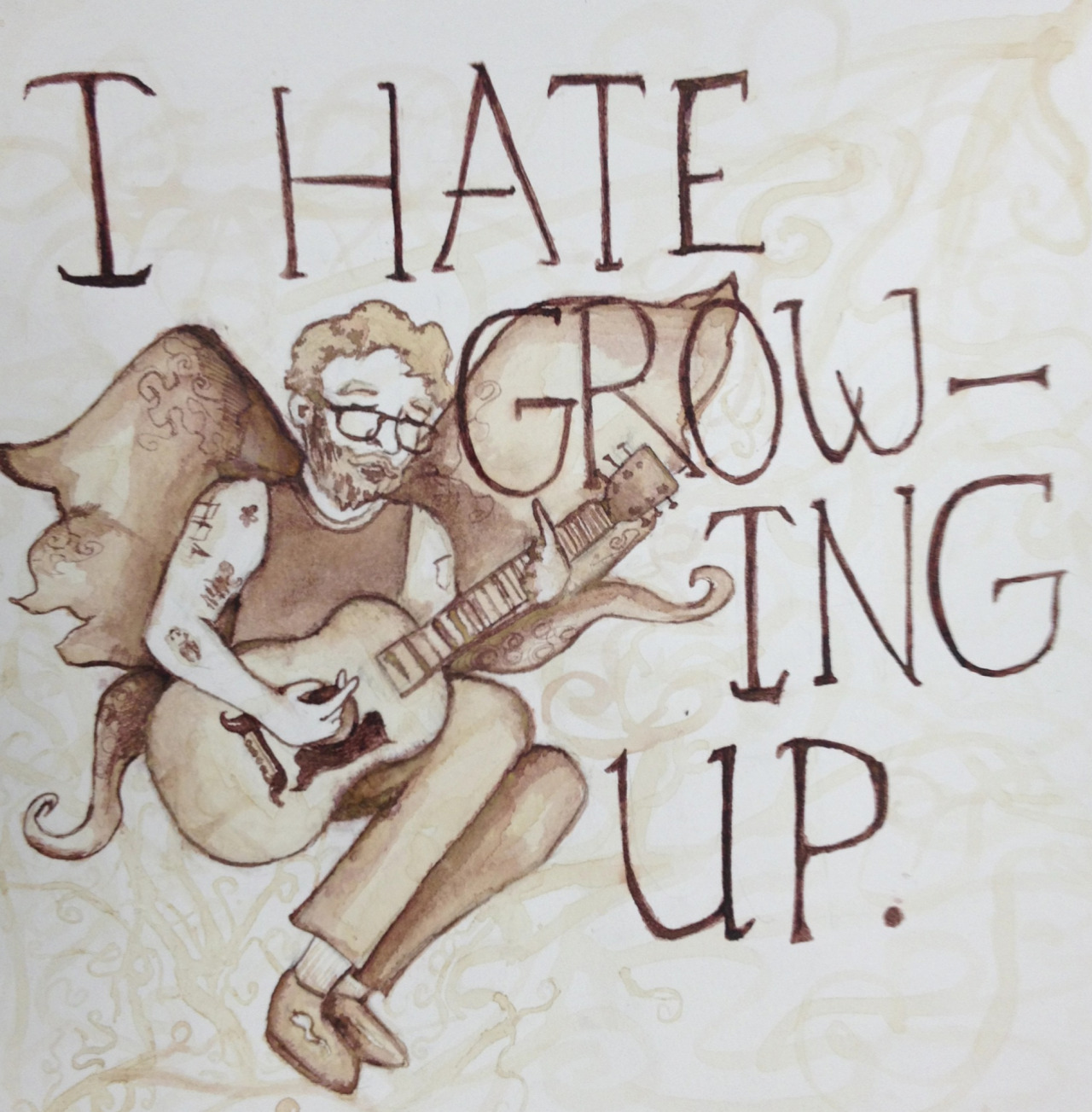 I painted Andrew Jackson Jihad with coffee because I quite enjoy his sad sack songs. And growing up really sucksss~