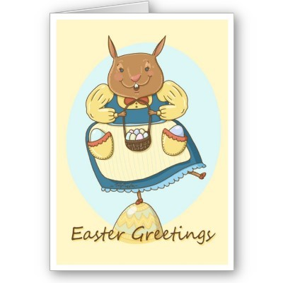 Easter Bunny Dancing on an Egg Illustrated Card / by TsipiLevin
