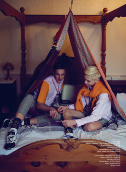 Tommy (M+P Models) & Jasper (Elite Models) by Cecilie Harris for I Love Fake Magazine. Styling by Chad Burton. Location: The Oakley Hotel. See more here.