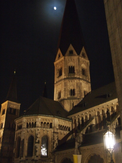 Almost full moon over Bonn, Germany. It was really too cold for this now 2-years-in-Cambodia-resident to take very many photos on this short trip to Brussels and Bonn. You're going to have to take my word that after taking my hand out of my pocket just long enough to snap this photo, I went and ate a schnitzel the size of my leg, and washed it down with a very delicious German beer!