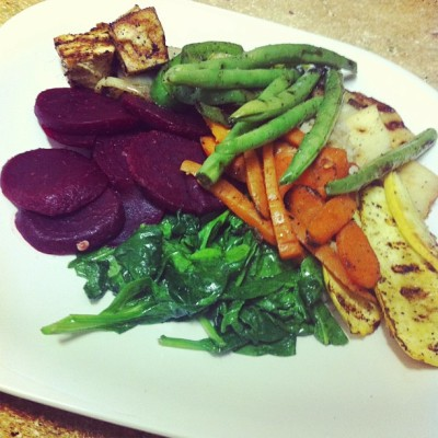 Dinner tonight!! Grilled Tofu, Carrots, Squash, Green Beans, Parsnip, Peppers & Onions w/ Sautéed Spinach and Beets over Brown Rice #vegan #whatveganseat #healthy #health #dinner #vegetables #vegetarian #fitness #food #vegansofig
