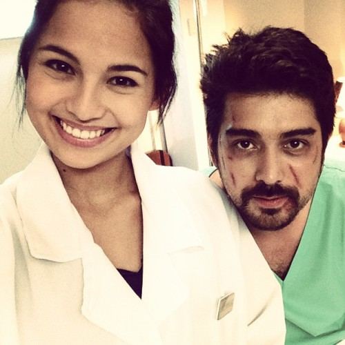 On set. Dra. Nika and patient, Amir. 🎥🎬 @pelikulaputi