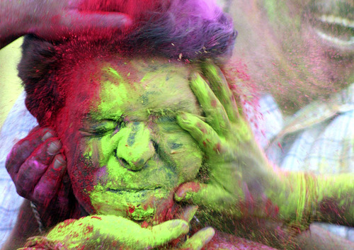 "Photos from Holi, the Hindu festival of color.  I stole this from ShanyceBoom.Tumblr a while back, and it's been sitting in my drafts. I'm was sitting in my father's kitchen in Michigan this morning as he was going to make Bisquick pancakes, but it had been so long since he had someone to cook breakfast for that the pancake mix had started to grow grubs. Being the father he has always been, he elected to make the pancakes from scratch. (file this under reasons that ""Life is good."") I'm sure that when he looked at my face during breakfast that he couldn't tell how grateful I am for him — I still don't always know how to let my guard down around him. He's still my father. I still want him to be proud of me.  For some reason while I was sitting there, I was thinking about these pictures. How often do we let our color show? I feel like we would all do better to let our selves show a little bit more… Even if we have to paint our faces honest to get there."
