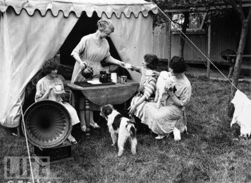 Tea and Music While Camping in 1923.