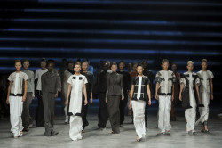 timeless-couture:  Finale of Rick Owens Spring/Summer 2012 fashion show at Paris Fashion Week