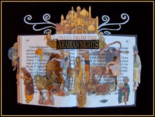 MINIATURE Book Sculpture: Tales From The Arabian Nights. Book Sculpture is 4x6 - Framed: 6x8. Check it out in my Etsy Store: https://www.etsy.com/listing/128053060