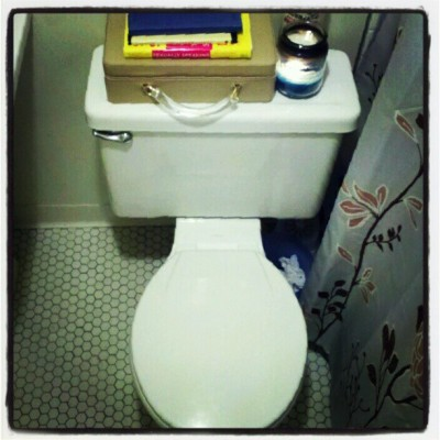 Tastefully accessorized. Jen B's, SE Portland #toilet, #tankluggage, #pdx