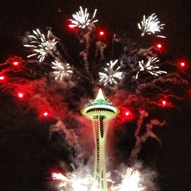 Best view ever! #seattle #fireworks #spaceneedle