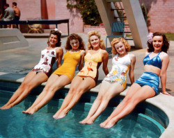 vintagegal:  Fox starlets Trudy Marshall, Jeanne Crain, Gale Robbins, June Haver and Mary Anderson (1943)