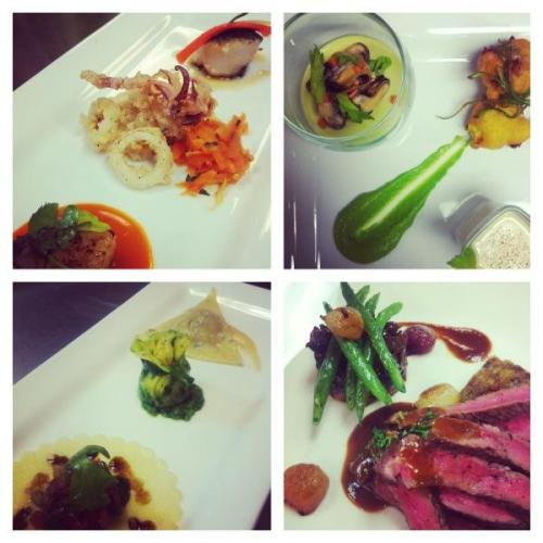 "some highlights from plating lab this week: (clockwise from top right) 1. deconstructed cream of leek- savoury leek panna cotta with pickled mussles, leek puree, clam fritters and vichysoisse ""shooter"" with nutmeg 2. red wine marinated peppercorn steak with stilton jus, bbq braised beef cheek, bacon mushroom ragout, and caramelized cippoline onions 3. ravioli 3 ways- open faced with bruschetta and balsamic reduction, bundled with spinach, goat cheese, caramelized onion and bacon with pesto, and traditional with mushroom fennel duxelle with fennel cream 4. seafood and carrot 3 ways- seared scallop with carrot butter, flash fried calamari with minted carrot relish and aioli, and nori crusted scallop with sesame vinaigrette and pickled carrot/ginger"