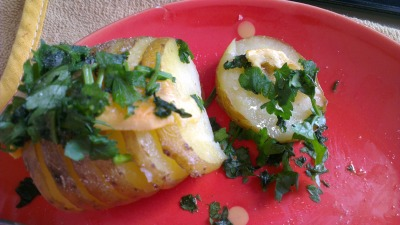 food-for-students:  Baked potato as snack! This little piece of heaven made my day. It was REALLY good. Here is the thing, I have like a million papers to write so I just boil the potato a little to speed up the process of baking it… Ingredients: Potato Parsley Gouda cheese Butter Salt and pepper. Directions: Preheat oven (dont ask to what degree because my roommate's over doesn't have marks, I just turn it on) Cut potato in slices but not all the way. Boil potato in some water (enough to cover it) for 5 minutes. Take potato out of the water add cover it with a little butter, just to keep it from drying too much. Put it in the oven and when you see that is about to be ready (it turns a little bit brown) top it up with cheese. Put it back in the oven until the cheese melts. And when you finally take it out top it with parsley, salt and pepper. Then… Enjoy! and then, go back to study…